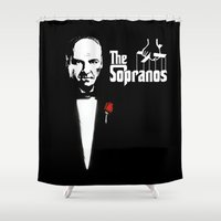 the godfather Shower Curtains featuring The Sopranos (The Godfather mashup) by Agu Luque