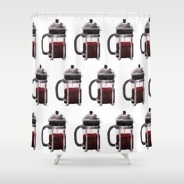 French Press - Red Shower Curtain