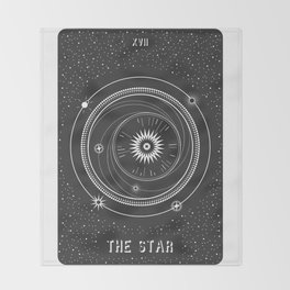 Minimal Tarot  Deck The Star Throw Blanket