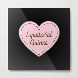 I Love Equatorial Guinea Simple Heart Design Metal Print
