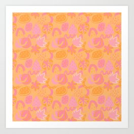Brushstrokes Abstract - pink and orange Art Print