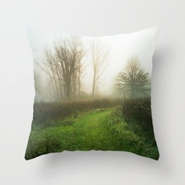 Beautiful Morning - Autumn Field in Fog Throw Pillow