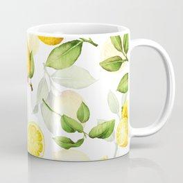 mediterranean summer lemon branches on white Coffee Mug