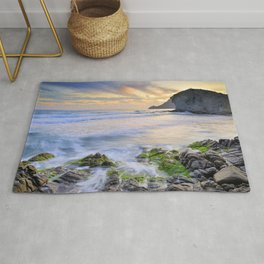 lonely sunset at the sea Rug