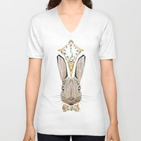 rabbit V-neck T-shirts featuring rabbit by Manoou