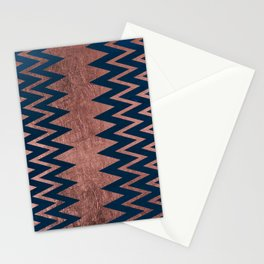 Navy blue faux rose gold watercolor geometric chevron Stationery Cards