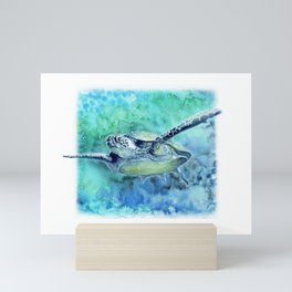 Swimming Turtle In Watercolor Mini Art Print
