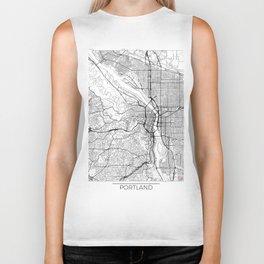 Portland Map White Biker Tank