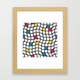Grid pattern black white yellow blue red. Irregular plaids contemporary design. Framed Art Print