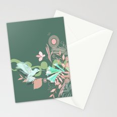 Hummingbird leaf tangle, green pale pink Stationery Cards