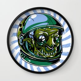 Astronaut Zombie Scary Face - I WAS TAKEN BY ALIENS Wall Clock