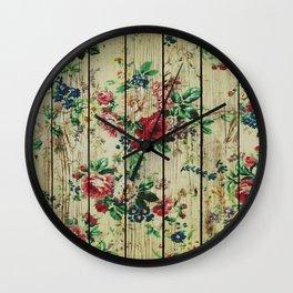 Flowers on Wood 01 Wall Clock