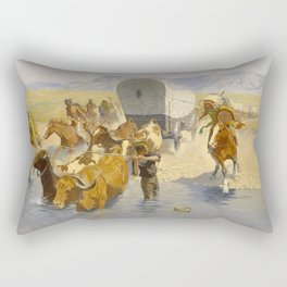 "Frederic Remington Western Art ""The Emigrants"" Rectangular Pillow"