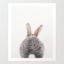 Bunny Tail, Grey Bunny Rabbit, Baby Animals Art Print By Synplus Art Print
