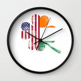 Saint Patrick Green Ireland USA clover gift Wall Clock