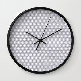 White Polka Dots and Circles Pattern on Pantone Lilac Gray Wall Clock