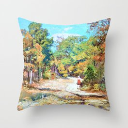 On the Road to Belmont - Theodore Clement Steele Throw Pillow