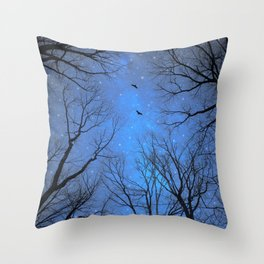 A Certain Darkness Is Needed (Night Trees Silhouette) Throw Pillow