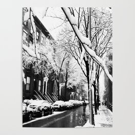 Black and White Photo of the Beautiful Brooklyn Heights covered in icy snow Poster