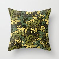 military Throw Pillows featuring Military pattern. by Julia Badeeva