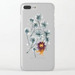 Lion on dandelion Clear iPhone Case