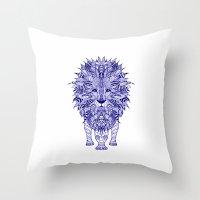 lion Throw Pillows featuring LIon by Monika Strigel