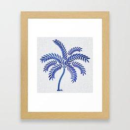 Cobalt Silhouette - Blue Palm Framed Art Print