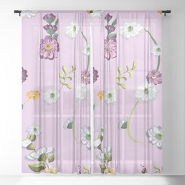 Spring Flowers, Nature 28 Sheer Curtain