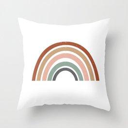 Rainbow earth tone cute kids room decor muted rainbow art print for nursery Throw Pillow