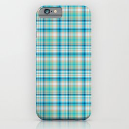 Aqua Menthe checked Pattern iPhone Case