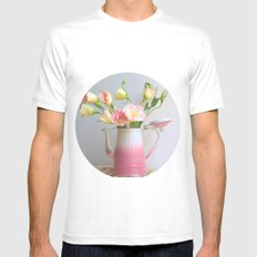 Coffee, Tea or Flowers MEDIUM Mens Fitted Tee White