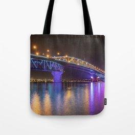 Auckland Harbour Bridge light show 2 Tote Bag