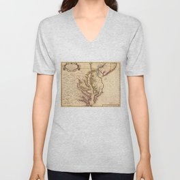 Vintage Map of The Chesapeake Bay (1719) Unisex V-Neck