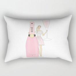 Rose Champagne Fashion Girl Blonde Rectangular Pillow