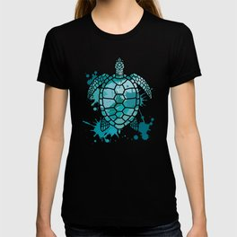 Colored Sea Turtle | Artistic Paint Splotches T-shirt