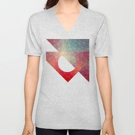 Abstract Geometric Triangulated Design Unisex V-Neck