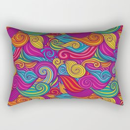 Vivid Jewel Tone Retro Wave Print Pattern Rectangular Pillow