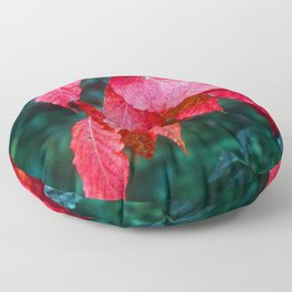 Vibrant Red Leaves Nestled in a Deep Forest Floor Pillow