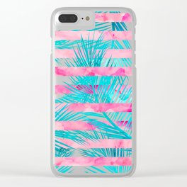 Modern pink turquoise tropical palm tree watercolor stripes pattern Clear iPhone Case