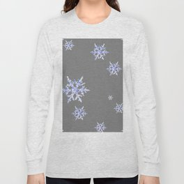 DECORATIVE GREY WINTER WHITE SNOWFLAKES Long Sleeve T-shirt