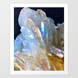 Angel Aura Clear Quartz Crystal Cluster Unicorn Mystical Magical Castle Fantasy Art Print