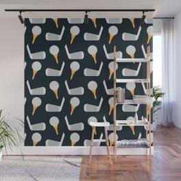 Golf Pattern (Black) Wall Mural