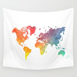 map of the world full of colors Wall Tapestry
