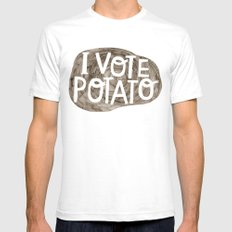 I VOTE POTATO Mens Fitted Tee White SMALL