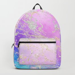 Modern rainbow glitter marble on nebula watercolor ombre Backpack