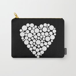 Simple black and white pattern .heart black polka dots .  2 Carry-All Pouch