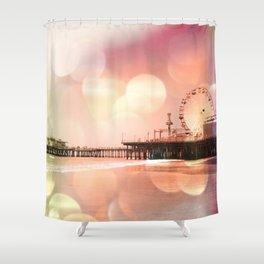 Sparkling pink Santa Monica Pier Shower Curtain