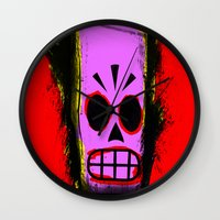 grim fandango Wall Clocks featuring Manny Calavera, Red version (Grim Fandango) by acefecoo