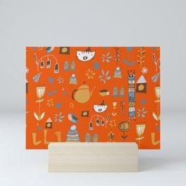 hygge cat and bird orange Mini Art Print
