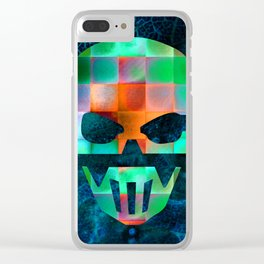 CHECKED DESIGN II - SKULL Clear iPhone Case